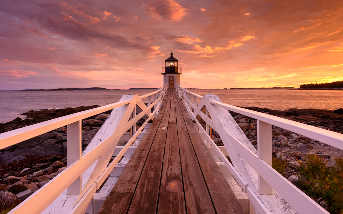Sunset at the Marshall Point Lighthouse in Maine.