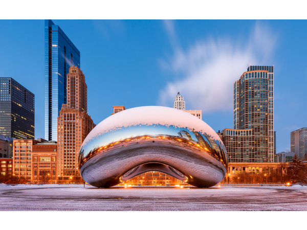 Chicago's Cloud Gate, or Bean, sculpture covered with snow