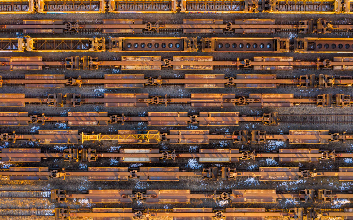 An aerial view of trains in Chicago