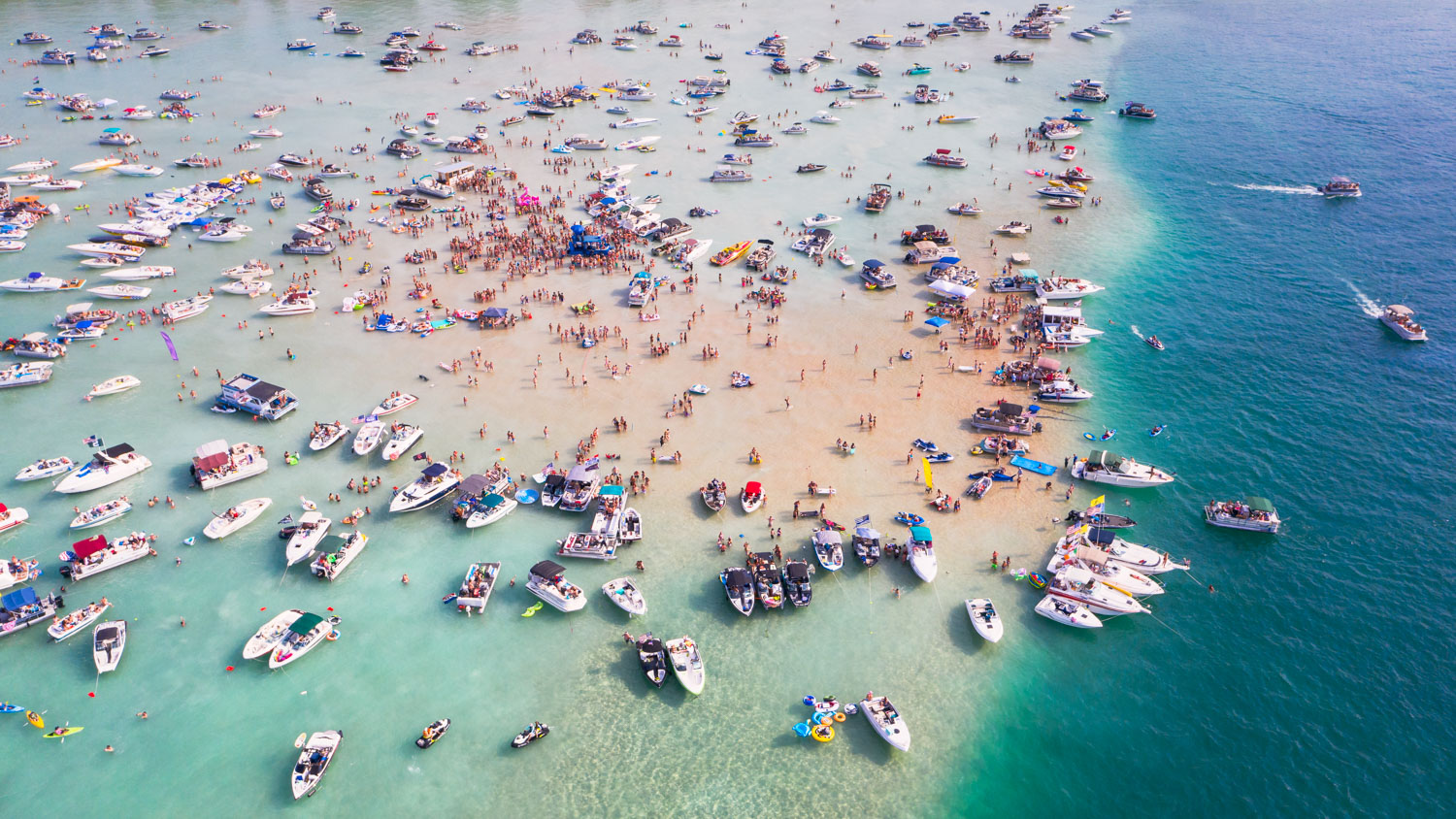 Aerial view of Torch Lake in Northern Michigan